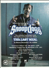 SNOOP DOGG TRADE AD POSTER for Tha Last Meal CD 2000 MINT