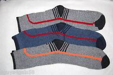 Mens Thermal Boot Socks THREE PAIR Gray Blue BLACK TOE HEEL Fits 10-13 Shoe Size