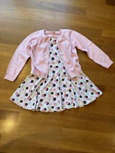 Gymboree Ice Cream Social Sun Tank Dress & Pink Cardigan Sweater 2pc Set Size 7