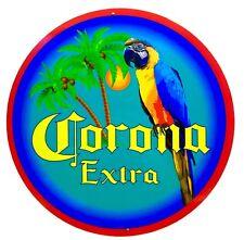Corona Parrot & Palm Tree Sign - 24 inch diameter aluminum material