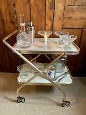 1970s Marble Effect 2 Tiered Collapsible Drinks Trolley