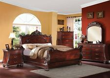 Formal Luxury Antique Cherry Finish Queen Size 4 Piece Bedroom Set Furniture