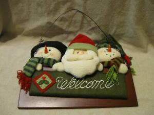 Adorable Christmas Plush Snowman and Santa Wooden Wall Door Hanging Welcome Sign