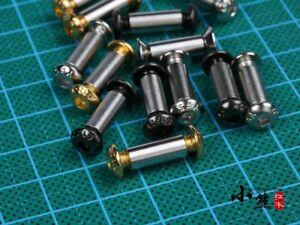 4 Set M4 x 6/8mm Brass Decorative Screws Bolts Nuts For DIY Folding Knife Hilt