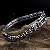 Solid 925 Sterling Silver Mens Chain Clasp Cuff Bracelet 8MM Retro Handmade Gift