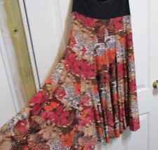 LADIES FLARED ORANGE TONED FLORAL SKIRT SIZE M MILLER'S BRAND