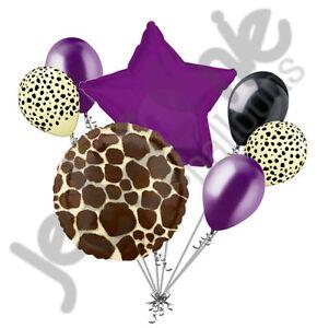 7 pc Tan Giraffe Print Balloon Bouquet Happy Birthday Baby Shower Animal Purple
