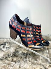 L'ARTISTE Spring Step Booties Black Multi Color Zip Woven Ankle Boot Women's 37