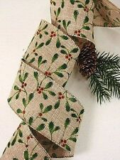 7 Yds. Mistletoe & Berry Ribbon Linen Look for TREE Topper Wreath, Swag  cr
