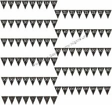 13ft Gold + Black Pennant Flag Bunting Banner Party Decorations Happy Birthday
