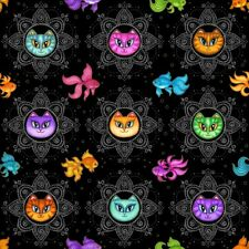 Dan Morris A Tail of 2 Kitties-Cat Medallion and Fish Black Fabric by the Yard