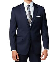 Alfani Solid Navy Blue Mens Blazer Size 40 Long Two Button Regular Fit $360 018