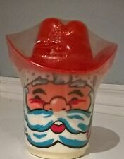 Deka Plastic Santa Claus Cup Mug Red Hat Lid Straw Made in USA Vintage Gift New