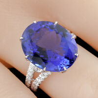 Tanzanite and Diamond Solitaire 18k White Gold Cocktail Ring with CoA Size 6.5
