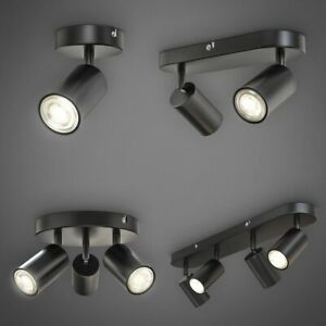 LED Spotleuchte schwenkbar Retro Schwarz GU10 Deckenlampe Wandleuchte Spot Flur