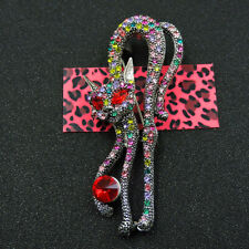 New Betsey Johnson Colorful Enamel Crystal Exquisite Cat Animal Charm Brooch Pin