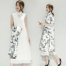 Dama Vestido de gasa cuello mandarín de lino y cárdigans trajes chino tradicional