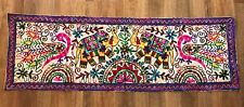 Indian Hand Embroided Table Runners/Wall Decor - Royal Blue or Green Borders