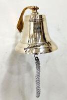 "Nautical Vintage Maritime Brass Ship Bell 8"" Wall Mounted Bracket Home Decor"