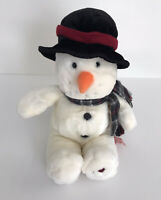 "Russ Berrie SNOWFLAKE Snowman Plush Bean Bag Christmas Stuffed Toy 16"""