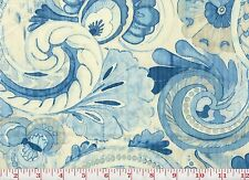 Blue Floral Drapery Fabric fr Peru PK Lifestyles Sarong Swirl CL Porcelain
