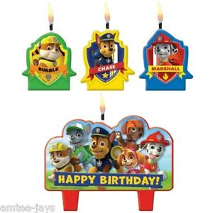 Paw Patrol Candles - Birthday - Moulded - Rubble/Chase/Marshall- Party Supplies
