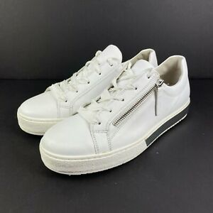 Gabor Sneakers Wisdom Trainers 8.5 White Leather Dual Zip Womens Shoes