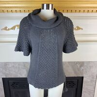 SMITTEN Anthropologie S Gray Cowl Neck Drawstring Hem Cotton Cashmere Sweater