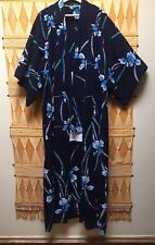 Japanese Cotton Kimono Handmade Blue Indigo Floral Robe Long Vintage Japan