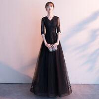 chic Spitze Abendkleid Partykleid Ballkleid Kleid für Moderatorin Schwarz BC867