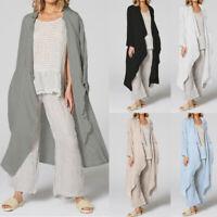 UK Summer Women Oversized Loose Long Top Linen Cover Up Beach Kaftan Kimono Coat