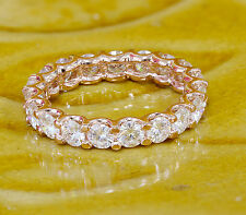 14k Rose Gold Wide 2.00ctw Eternity Band, Wedding Band, Ring, Deco Made Diamond