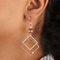 Natural Pave Diamond Dangle Earrings Solid 14K Rose Gold Handmade Fine Jewelry