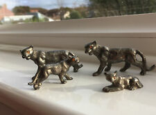 'Family Of Cats' Silver Metal Ornaments With Amber Stone Eyes.
