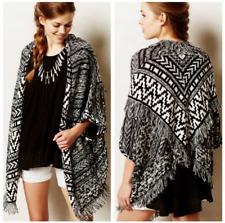 MOTH Anthropologie S/P Black White Fringed Jacquard Cardigan Sweater - $118