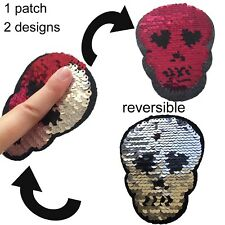 Sequin skull heart eye iron on patch reversible design Halloween iron-on patches
