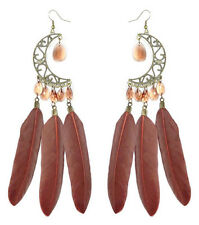 F2624 brown Feather earrings bead bronze moon cute hook dangle ornament new