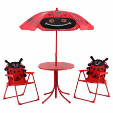 Kid Patio Set Table With 2 Folding Chairs w/ Umbrella Beetle Outdoor Garden Yard
