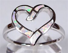 White Fire Opal Inlay Solid 925 Sterling Silver Heart Ring Size 6 or 7
