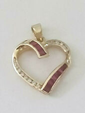 14K Yellow Gold 8 Channel Natural RUBY 14 DIAMOND OPEN HEART PENDANT 2.0 grams