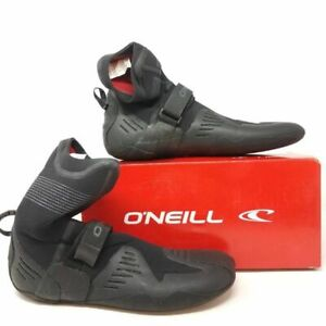 O'Neill Mens Psycho Tech 5mm Wetsuit Boots Black Round Toe Arch Strap 12 New