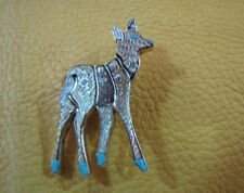 A L S Andrea Shirley Etched Mother of Pearl Deer Inlay Pin Pendant Sterling Mop