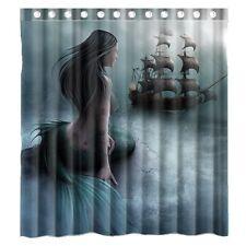 Bathroom Shower Curtain Mermaid Sea Ship Nautical Waterproof Polyester Fabric