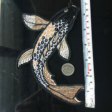 """7"""" Frashwater Fish Koi Carp Patch Embroidered Iron On Applique Sewing Craft DIY"""