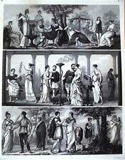 ANTIKE; MODE/TRACHTEN/ACCESSOIRES.STAHLSTICHTAFEL UM 1850/70.Blattgr.:28x21,5 cm