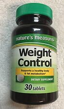 Nature's Measure Weight Control Loss Formula Tablets, 30ct FAT BURNER New Sealed