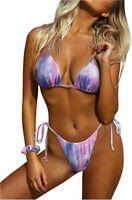 SUUKSESS Women String Bikini Set Tie Side Thong Sexy Swimsuits, Purple, Size 6.0