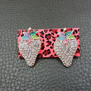 New Betsey Johnson rare Alloy Rhinestone White Strawberry Stud Earring Jewelry