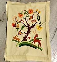 "Vintage 1970s Finished Crewel Embroidery Animal Tree 17""x 13"" Hand Made"