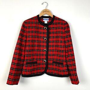 VTG Pendleton Vintage Red Plaid 100% Virgin Wool Skirt Suit Size 6P S